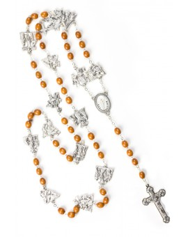 Metal Via Crucis Rosary - Light Wood