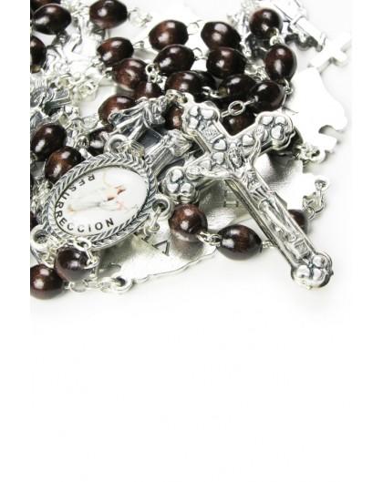 Metal Via Crucis Rosary - dark  Wood