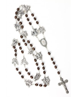 Metal Via Crucis Rosary - dark  Wood
