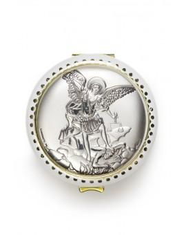 St Michael Archangel silver Rosary Box