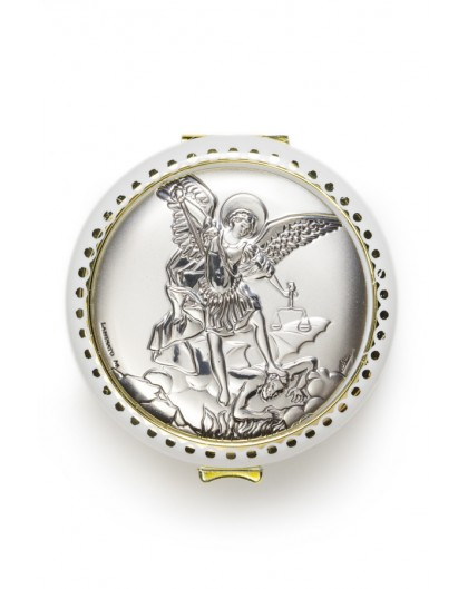 St Michael Archangel silver Rosary Box