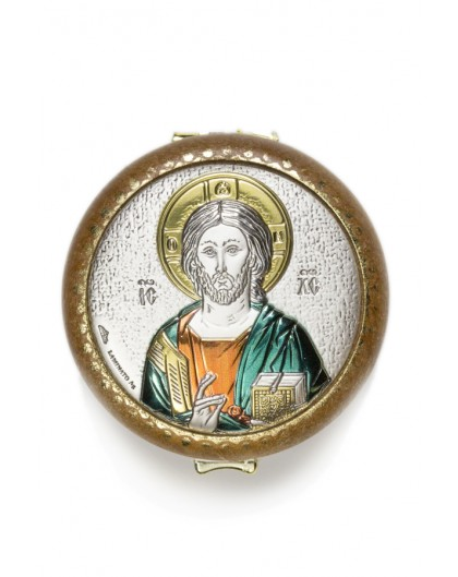 Christ Panthocrator silver Rosary Box