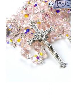 Pink Swarovski Crystal Silver Rosary