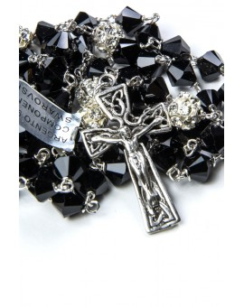 Black Crystal Silver Strass Paters Rosary