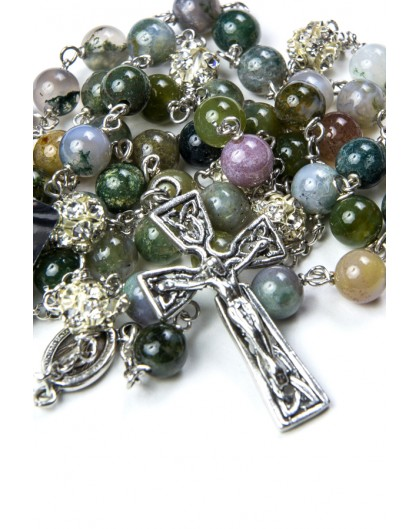 Variegate Agate Silver Rosary