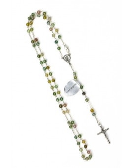 Variegate Agate Silver Rosary Necklace