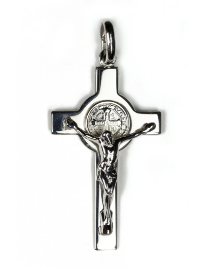 St Benedict Sterling Silver Jewellery Crucifix Size 2