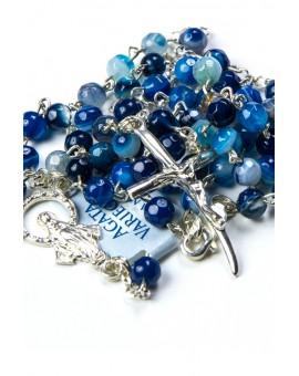 Blue Variegate Agate Sterling Silver Necklace