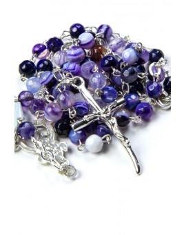 Violet Variegate Agate Sterling Silver Necklace