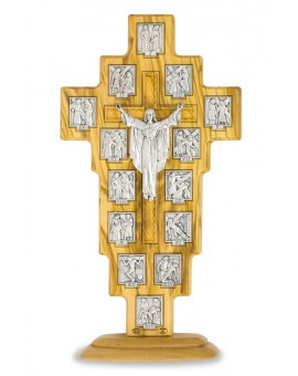 Olive Wood Via Crucis on stand