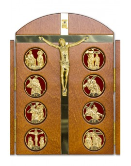 Tryptic Wooden Via Crucis