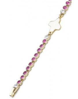 Swarovski Crystal Bracelet - Pink - Metal Gold
