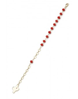 Crystal Bracelet - Red - Metal Gold