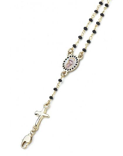 Enamelled Crucifix Crystal Bracelet - Black - Metal Gold