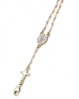 Enamelled Center Crystal Bracelet - Pink - Metal Gold