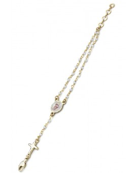 Enamelled Center Crystal Bracelet - White - Metal Gold