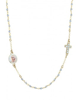 Crystal Necklace with Crucifix with strass - Light Blue - Metal Gold