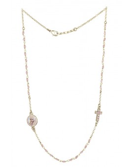 Crystal Necklace with Crucifix with strass - Pink - Metal Gold