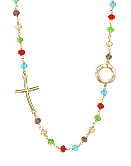Crystal Necklace with design Crucifix and center - Multicolor - Metal Gold
