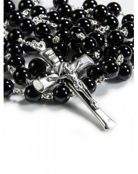Black Onyx Rosary with Solid Crucifx 6mm beads