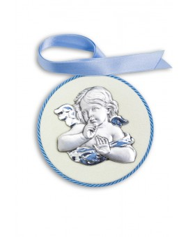 Light Blue Guardian Angel Cradle Medallion