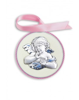 Pink Guardian Angel Cradle Medallion