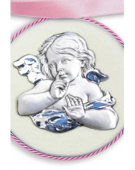 Light Blue Guardian Angel Cradle Medallion