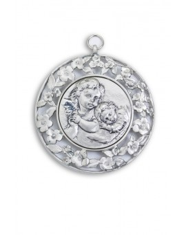 Sterling Silver Angels with Flowers Frame Cradle Medallion