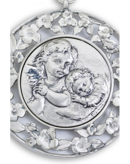 Sterling Silver Sleeping Angel with Flowers Frame Cradle Medallion