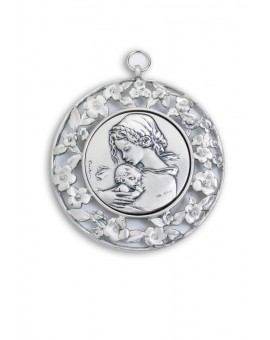 Sterling Silver Sleeping Jesus with Flowers Frame Cradle Medallion