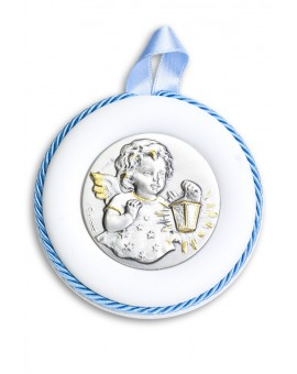 Sterling Silver Light Blue Guardian Angel with light Cradle Medallion