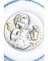 Sterling Silver Light Blue Guardian Angel with light Cradle Medallion