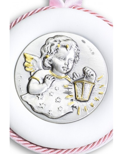 Sterling Silver Pink Guardian Angel with light Cradle Medallion