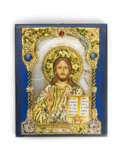 The Blue and Gold Icon - Jesus medium size