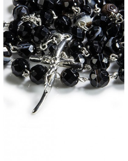 Black Agate Natural Stone Rosary