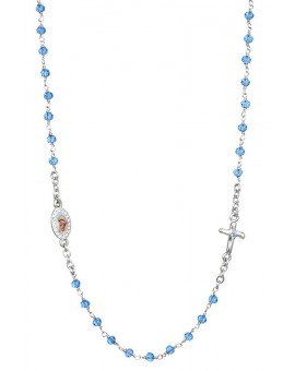Crystal Necklace with Crucifix with strass - Light Blue - Metal Silver