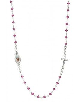 Crystal Necklace with Crucifix with strass - Amethist - Metal Silver