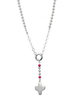 Silver metal Rosary Necklace - Red Paters