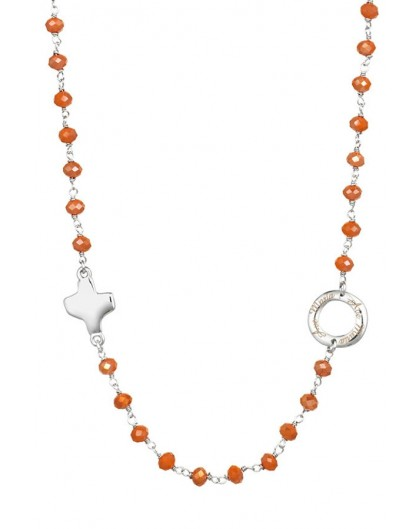 Crystal Necklace with Design Crucifix - Orange - Metal silver