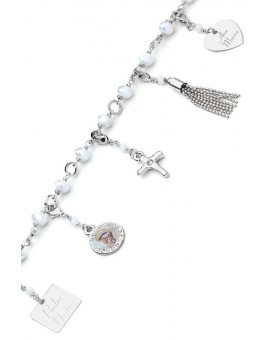 Charms Crystal Bracelet - White - Metal Silver