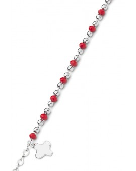 Crystal and Silver beads Bracelet - Red - Metal Silver