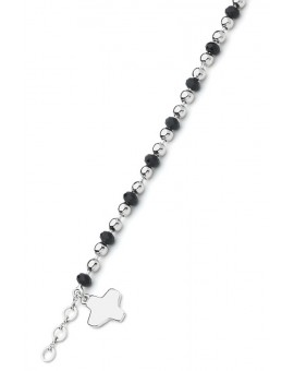Crystal and Silver beads Bracelet - Black - Metal Silver