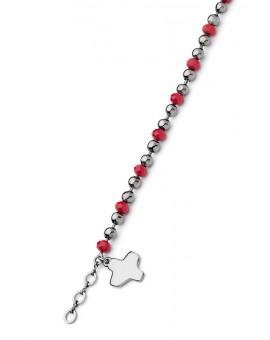 Crystal and dark metal beads Bracelet - Red
