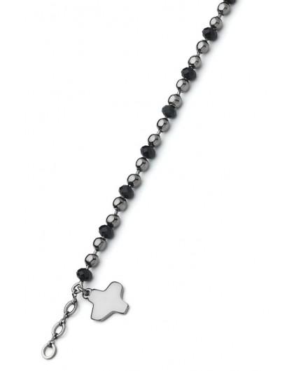 Crystal and dark metal beads Bracelet - Black