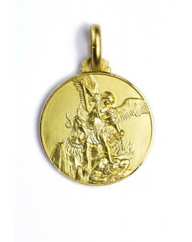 St. Michael Archangel gold plated medal