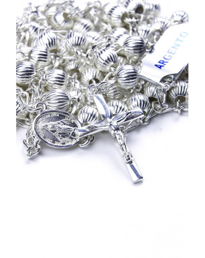Double Chain All Silver Rosary Necklace