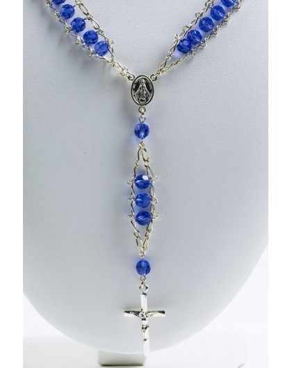 Double Chain Swarowski Blue Crystal Rosary Necklace