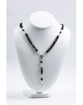 Double Chain Swarowski Black Crystal Rosary Necklace