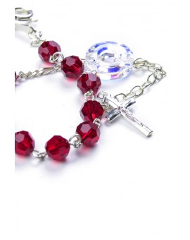 Swarovski Crystal Circle Rosary Bracelet Red
