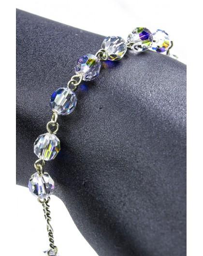 Swarovski Crystal Circle Rosary Bracelet Clear